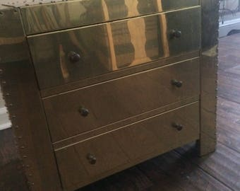 Sarreid Inspired Brass and Wood Chest
