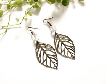 Transparent bead leaf earrings