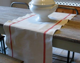 Table runner linen an old towels fabric has never been used