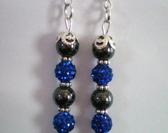 Hematite and Hematite - 6-7 cms h beads dangling earrings