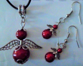 Earrings pendants Angels - red and silver - magic beads and pendant set