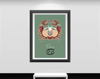 Cancer print, Cancer art, Cancer poster, zodiac wall decor, zodiac wall art, zodiac print, zodiac poster, zodiac Cancer painting, zodiac art