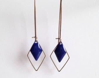 Earrings - diamond - electric blue