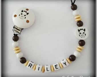 Pacifier clip Personalized engraving on wood!