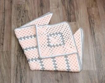 Pink Granny Square Crochet Baby Blanket