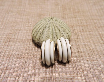 Vintage White and Gold tone half circle clip on earrings
