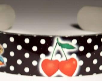 Aluminum sublimation Cherries and Birds bracelet