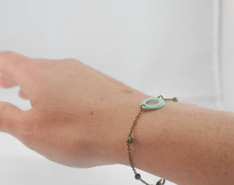 Bracelet fine chain and bronze beads - Oh! Round Aqua crochet