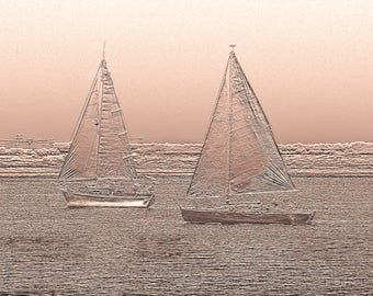 Sailboats on parade - photography of Sepia Art