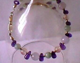 Bracelet - semi-precious Gemstones pastel - Silver 925
