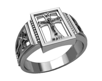 Jesus Cryst Сrucifixion Cross Sterling Silver 925 SKU30369