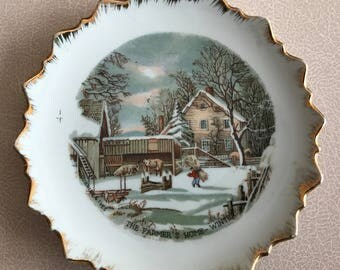 Currier & Ives: The Farmer's Home - Winter plate, decorative plate, vintage plate, homestead, hanging plate