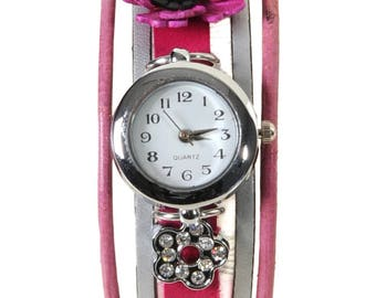 Watch jewelry pink and silver with a sea anemone leather Prague