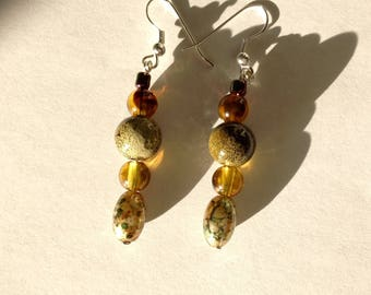 Handmade dangly earrings, brown earrings