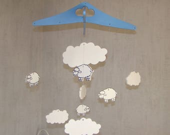 Mobile for kids wooden mdf sheep and cloud blue and white