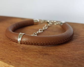 Adjustable leather cord bracelet nappa Brown, bail and clasp 925 for women