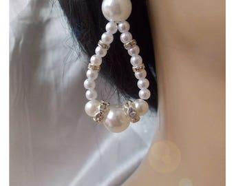 White Pearl and rhinestone earrings
