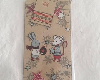 Small tag etiquetet bookmark Christmas mouse