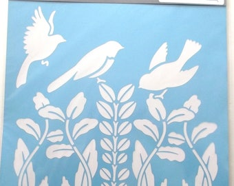 Reusable plastic STENCIL - birds and FOLIAGE ref patterns.  76