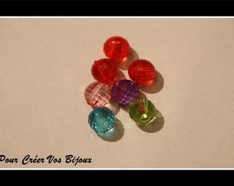 Lot 100 Acrylic 8mm faceted beads