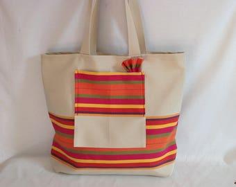 """Beach bag """"bayadere"""" Pinstripe canvas straps"""