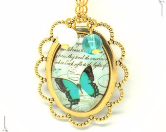 """""""Poem & Butterfly"""" Medallion pendant romantic Golden brass and glass necklace"""