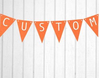 Orange & White Custom Personalised Flag Bunting - Birthday Wedding Engagement Baby Shower Baptism Hens Bucks Farewell Party Banner Sign