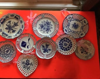 9x Vintage Porcelain Collectible Wall Decorative Hanging Plates.- gift for her