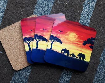 Elephant coasters, elephant art print, elephant print, set of coasters, coasters for drinking, elephant gifts, sunset, nature print
