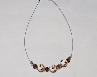 Porcelain and Brown swarovski crystal wired necklace