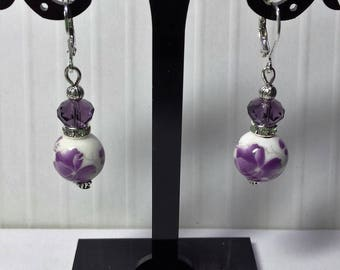 Porcelain and 2 Purple Orchid Swarovski crystal earrings