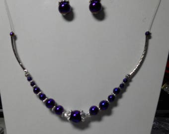 Purple cable necklace and earrings Hematite