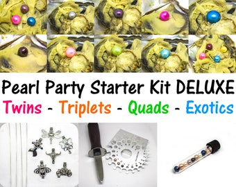 12 Akoya Oysters w/ Quads Triplets Twins - Pearl Party Starter Kit - Pearl Cage Pendant Necklaces - Pearl Sizer - Oyster Shucker - Exotics