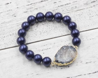 Druzy Shell Beads Stretch Bracelets , With Gold Plated Drusy Charm For Bridesmaids Jewelry Party Gift Wholesale