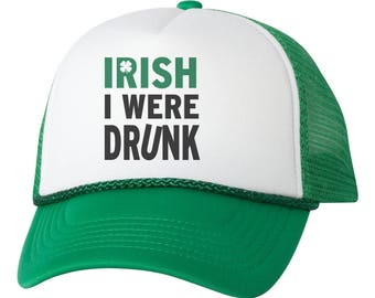 Irish I Were Drunk St. Patricks Day Trucker Hat Snapback Adjustable Cap New - Green