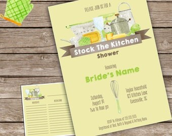 Green Stock the Kitchen Invitation with recipe card