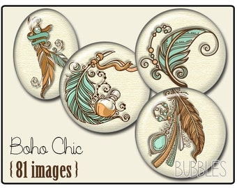 Digital collage sheets - 81 illustrated images for cabochon - Boho Chic, Feather - orange, brown, blue