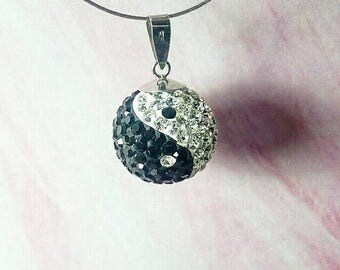 Sparkly Crystal Yin Yang Pendant.