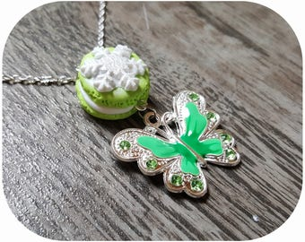 "Treats ""Christmas button and Green Butterfly"" necklace"