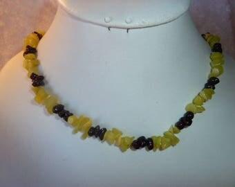 Genuine JADE gemstones and Garnet necklace