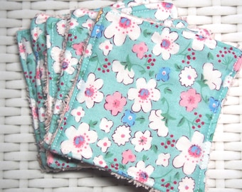 "Square ""Flowers"" cotton and soft pink Terry cloth"