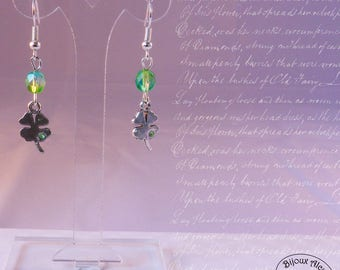 Silver and Crystal rhinestones - green clover