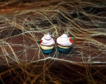 Earrings dangling cupcake blue and pink pastel fimo