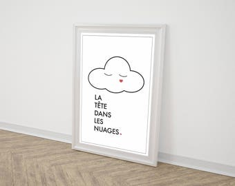 "Poster ""Head in the clouds"""