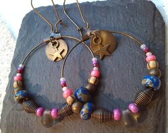 Earrings Bohemian hoops way star