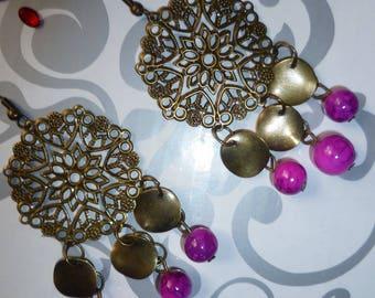 Bronze earrings Fuchsia beads and pendants