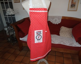 Kitchen apron in red with white dots cotton Piqué
