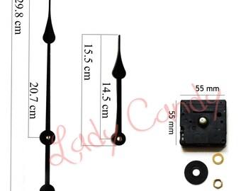 Aiguilles 29.8 cm Noir Mécanisme Horloge de Gare Mouvement Pendule Mecanisme #210004C