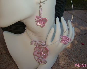 Necklace pink butterfly earrings and ring pink butterfly, pink aluminum wire, wedding