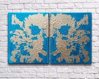 "RoR #11 Aqua & Gold Rorschach Acrylic Wall Art Twin Canvas Set (8"" x 10"" each   total 16"" x 10"")"